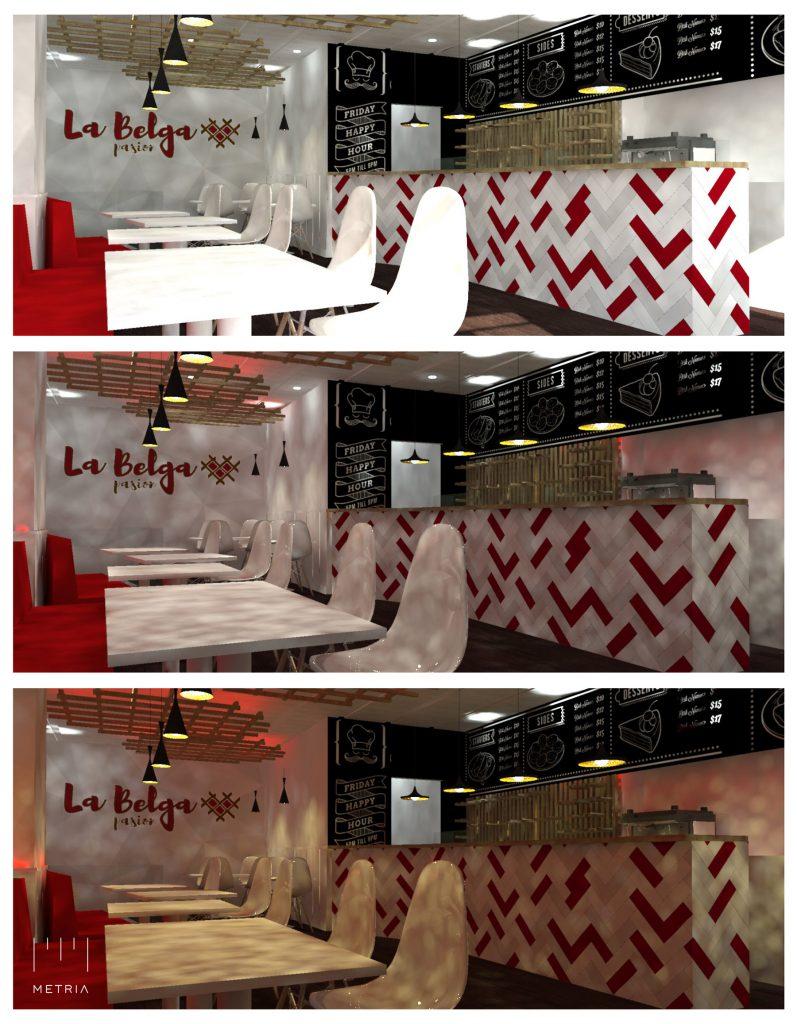Proyecto de Interiorismo METRIA Arquitectos , estudio de iluminación La Belga